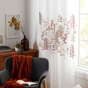 Set of 2 autumn' riches / fall pattern voile sheer curtain 54'' x 86'' NWT